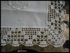 Resultado de imagem para bico de croche para toalha de mesa com canto Crochet Blanket Border, Crochet Boarders, Crochet Edging Patterns, Crochet Lace Edging, Crochet Cross, Crochet Art, Crochet Doilies, Hand Crochet, Crochet Stitches