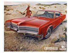 Premium Giclee Print: Red 1968 Chrysler : 12x16in