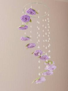 Lavender Baby Crib Mobile - Baby Girl Nursery Decor - Ombre Ceiling Mobile - Rose Flower Mobile - Floral Cot Mobile - For my home - Purple Nursery Decor, Baby Girl Nursery Decor, Baby Decor, Nursery Ideas, Nursery Themes, Whimsical Nursery, Girl Decor, Baby Bedroom, Nursery Room