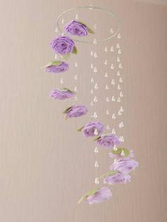 Lavender Baby Crib Mobile - Baby Girl Nursery Decor - Ombre Ceiling Mobile - Rose Flower Mobile - Floral Cot Mobile - For my home - Purple Nursery Decor, Baby Girl Nursery Decor, Baby Decor, Nursery Ideas, Nursery Themes, Whimsical Nursery, Flower Nursery, Girl Decor, Baby Bedroom