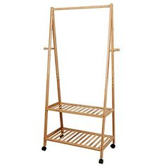 SONGMICS Clothes Rack on Wheels, Rolling Garment Rack with Storage Shelves, Hall Tree with 4 Coat Hooks for Shoes, Clothing, Bamboo Clothing Storage, Shoe Storage, Storage Shelves, Extra Storage, Hanging Clothes Rail, Hanging Rail, Clothes Racks, 70 Clothes, Closets