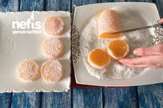 Mandalinalı Lokum (Videolu) Turkish Delight, Peach, Candy, Breakfast, Food, Kitchen, Morning Coffee, Recipes, Essen