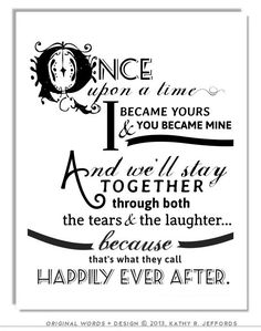 Happily Ever After Typographic Print For Newlyweds And Just Married Couples. Love Themed Fairy Tale Art. Wedding Or Anniversary Gift.