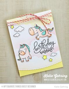 Handmade card from Katie Gehring featuring Magical Unicorns Stamp Set and Die-namics, Stitched Scallop Basic Edges Die-namics, Mini Cloud Edges Stencil from My Favorite Things #mftstamps