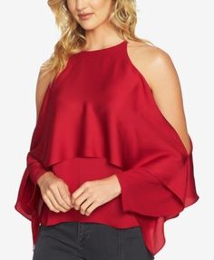 1.state Tiered Cold-Shoulder Top, a Macy's Exclusive Style - Black XL
