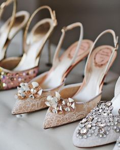 Okay ladies now let's get in formation! Have you ever seen a prettier #weddingshoe lineup? | René Caovilla | WedLuxe Magazine | #WedLuxe #Wedding #luxury #weddinginspiration #luxurywedding