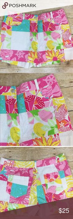 """Lilly Pulitzer Multi Fun Print Shorts Lilly Pulitzer  Multi Fun Print Shorts Womens 4   97% Cotton, 3% Spandex  Waist- 15"""" Inseam- 2.5"""" Rise- 10"""" Lilly Pulitzer Shorts"""