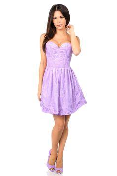 e95151578f7 Daisy Steel Boned Lilac Lace Empire Waist Corset Dress
