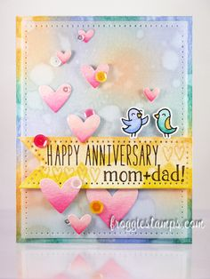 Pastel watercolor background happy anniversary card with a Birdie Told Me, Milo's ABCs, Sally's ABCs, Hearts Lawn Cuts dies Happy Anniversary Mom Dad, Wedding Anniversary Cards, Wedding Cards, Anniversary Funny, Distress Ink, Distress Markers, Card Making Inspiration, Scrapbook Cards, Scrapbooking