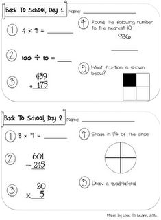 Back to school review idea... Bell work for the first week or two?