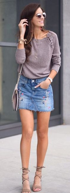 #spring #outfits Grey Knit