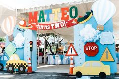 A Colorful Transportation Themed Party for Matteo Car Themed Parties, Cars Birthday Parties, Birthday Party Decorations, Boys First Birthday Party Ideas, Farm Birthday, Birthday Bash, Auto Party, Transportation Birthday, Buffet