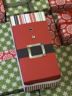 Add a Santa theme to a gift box.