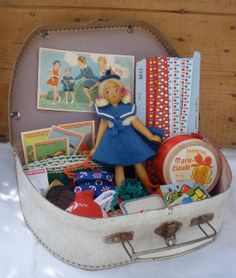Vintage french cardboard small suitcase children's toy & sewing notions on Etsy, $64.00