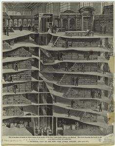 A cross-section of New York Public Library�s 7 underground levels, 1911