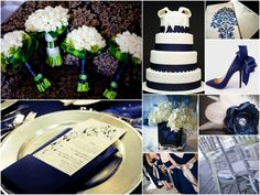 Navy Blue, Silver, and Champagne