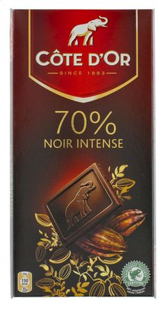 COTE D'OR dark chocolate intense 70% 100gr. A thin black bar of chocolate Côte d'Or unique and intense flavor 70% cocoa for a powerful and subtle experience. on your website www.chockies.net