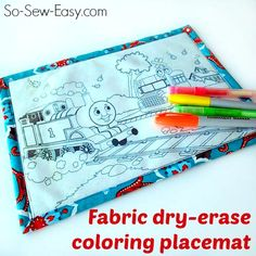 Make a wipe clean dry erase colouring placemat for toddlers using Iron on Vinyl. Get the tutorial at ~ So Sew Easy