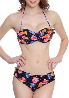 Floral Layered Halter Bikini Set #floral #bikini #swimwear  #fashionable Bikini Set, Halter Bikini, Floral Bikini, Bikini Swimwear, Huda Beauty, Bathing Suits, Beachwear, Swimsuits, Fashion Design