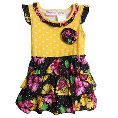 For only $8.00, this is a cute baby girl dress....  Young Hearts Infant Girls Yellow Black Pink Polka Dot Floral Summer Sundress