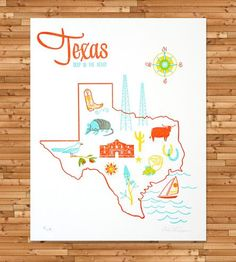 Texas Letterpress Print | This mid-century style print features the maker's original ren... | Posters