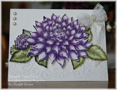 Heartfelt Creations' Blooming Dahlia colored with pencils