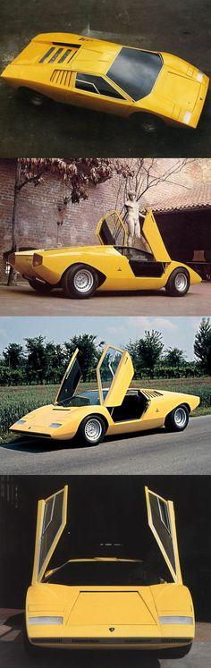 1971 Lamborghini Countach LP500 / concept prototype / Italy / Bertone Marcello Gandini / yellow / 16-87 / periscopo