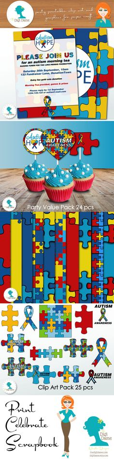 Autism Fundraiser Party Printables & Scrapbooking Papers by The Digi Dame Etsy Shop digidame.etsy.com