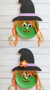 Paper plate witch craft for kids. Use a paper plate and yarn for this easy Halloween craft for preschoolers, kindergartners and older kids. Great Halloween classroom party craft idea for preschool. An easy witch craft for kids to help them practice t Halloween Arts And Crafts, Halloween Crafts For Toddlers, Halloween Tags, Fall Crafts For Kids, Toddler Crafts, Craft Kids, Bat Craft, Kids Diy, Kids Crafts
