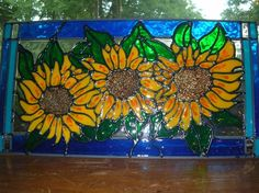 Sunflowers stained glass window 13.5 x 7 by windows2thesoul, $23.00