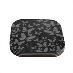 Kess InHouse Snap Studio 'Butterflies Iii' White Chalk Coasters