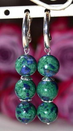 """Купить Серебряные серьги с малахитом и азуритом """"Хозяйка медной горы"""" - комбинированный, синий, зеленый"""