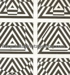 vintage 1970's optic illusion pattern art print book plate black & white pop art design retro home decor mod geometric picture wall 65 66 by RecycleBuyVintage on Etsy