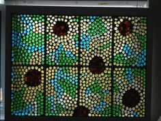 Large Sunflowers Stained Glass Mosaic by Glasspaintingsparky, $180.00