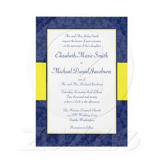 Navy and Yellow Damask Swirl Wedding Invitation from Zazzle.com