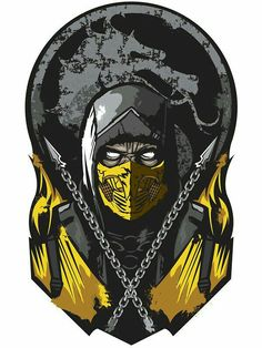 """Scorpion Mortal Kombat"" Stickers by Escorpion Mortal Kombat, Fc Liverpool, Fighting Games, Video Game Art, Street Fighter, Game Character, Arcade, Videogames, Batman"