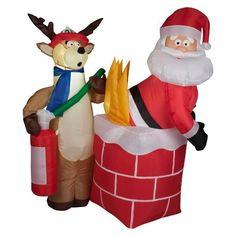 SANTA ON FIRE ANIMATED CHRISTMAS AIRBLOWN INFLATABLE OUTDOOR YARD DECOR!!!