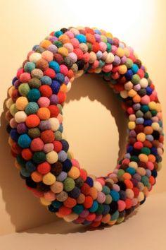 felt wool ball wreath