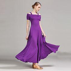 ボールルームダンス ドレス 女性用 性能 プロミックス ドレープ 半袖 ナチュラルウエスト ドレス