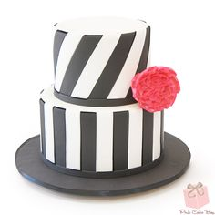 Black and White Cake with Red Rose!