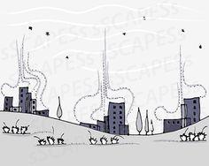 spring breeze & stark winter by birdeyesviwe birdeyesviwe on Etsy Future Trends, Photo Center, Landscape Drawings, Nursery Wall Art, Breeze, Taupe, Whimsical, Illustration Art, Printable