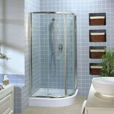 dd5c3874c Install shelves right into the bathroom wall and add some baskets for  storage. It saves
