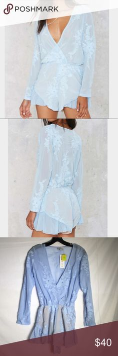 25🐰💛nasty Gal I've got the flower plunge romper Flex your flower power. The I've Got the Flower Romper is made in sheer powder blue chiffon and features floral embroidery, plunging neckline, elastic waistline, and ruffle detail. Partially lined.. Polyester. Runs true to size. Model is wearing size S. Machine wash cold. Imported Nasty Gal Pants Jumpsuits & Rompers