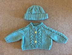 Handmade Baby CARDIGAN and HAT, round neck for Newborn Boy or Girl, 0-6 Months, Long Sleeved Jumper, sweater, aqua green colour by ramutez on Etsy