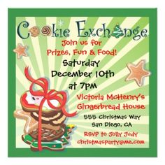 cookie exchange party invitations   Christmas Cookie Exchange Party Invitation