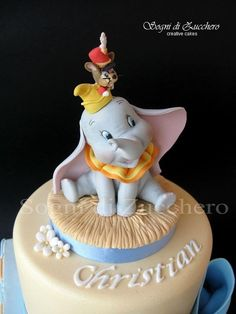 Baby Dumbo Christening Cake - cake by Maria Letizia Bruno Bolo Do Dumbo, Dumbo Cake, Baby Shower Cakes, Dumbo Baby Shower, Baby Dumbo, Crazy Cakes, Fancy Cakes, Unique Cakes, Creative Cakes