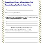 Free: A Persuasive Essay Research Paper Topic Form for developing a topic and constructing a working thesis statement.  I use this form with my 8th...