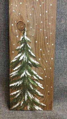 Painted winter tree on wood plank