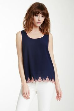 Blu Pepper Embroidered Hem Tank by Non Specific on @HauteLook