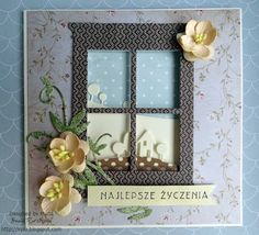 best wishes card by Mucia with Memory Box Madison Grand Window Die and Modern Landscape Border Die
